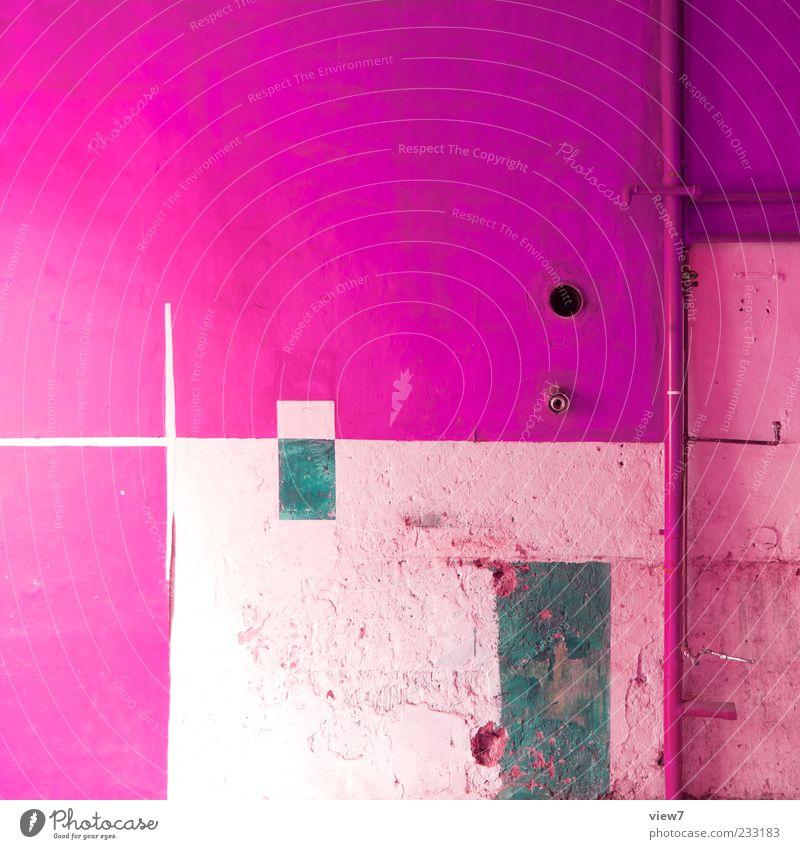 pink Umzug (Wohnungswechsel) Raum Küche Mauer Wand Stein Beton Linie Streifen alt authentisch einfach frisch einzigartig kaputt rosa ästhetisch Ordnung Verfall