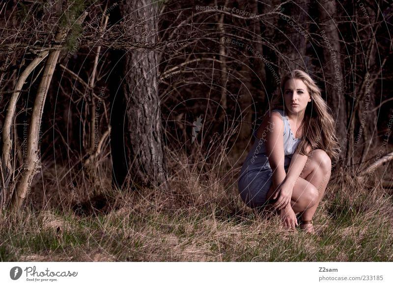 wild Lifestyle elegant Stil feminin Junge Frau Jugendliche 1 Mensch Umwelt Landschaft Baum Gras Sträucher Wald Kleid Haare & Frisuren blond langhaarig hocken