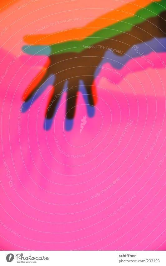 des Maîtres Hand, bunt Mensch blau grün rot gelb Hintergrundbild rosa Finger violett mehrfarbig winken Willkommen Licht Schattenspiel Farbenspiel