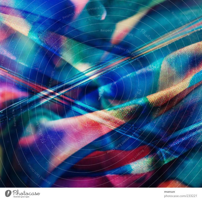 Textilbearbeitung I Stoff außergewöhnlich Coolness blau bizarr Design skurril Farbfoto Nahaufnahme Detailaufnahme abstrakt Muster Strukturen & Formen