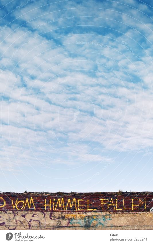 Lass uns ... Himmel blau Wolken Umwelt Wand Graffiti Mauer Luft Schriftzeichen Buchstaben Schönes Wetter Typographie Barriere Hinweis Text Straßenkunst