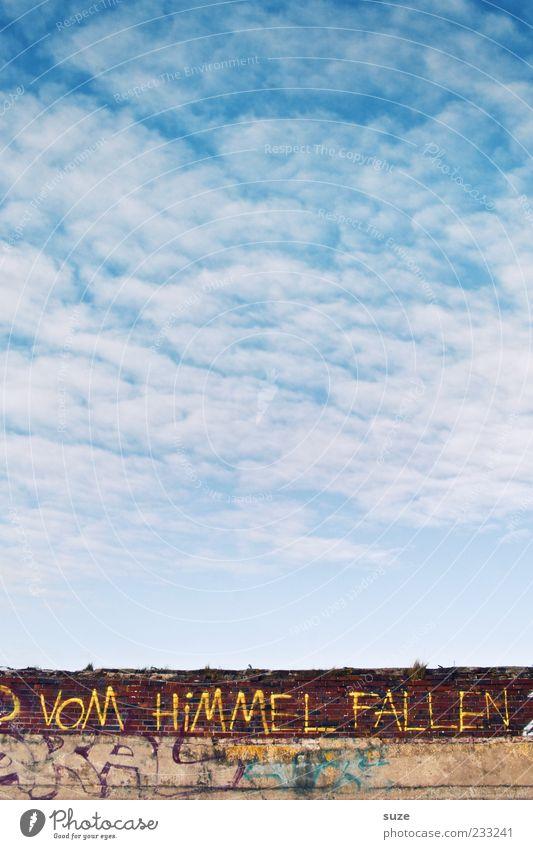 Lass uns ... Umwelt Luft Himmel Wolken Schönes Wetter Mauer Wand Schriftzeichen blau Typographie Redewendung Graffiti Handschrift poetisch Text Buchstaben