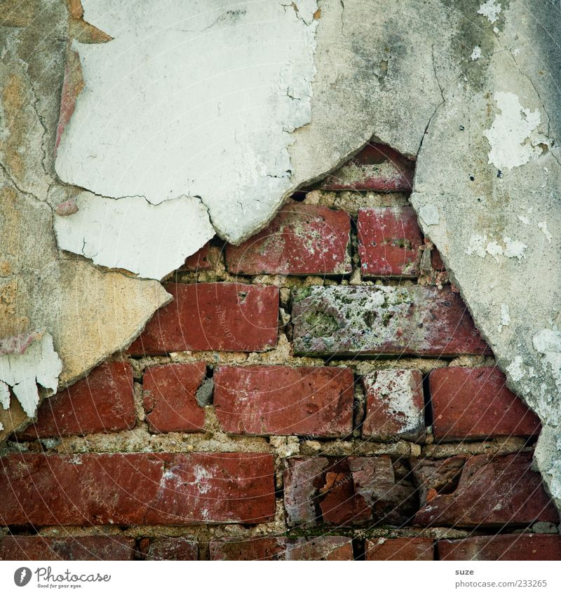 Steinalt Haus Wand Mauer Hintergrundbild dreckig Fassade nass kaputt Vergänglichkeit einfach Backstein Verfall Riss Putz