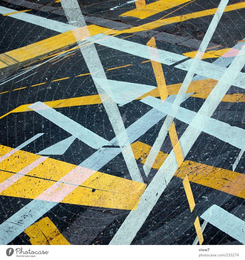 Plan Verkehr Straße Wege & Pfade Stein Zeichen Schilder & Markierungen Linie Streifen alt authentisch einfach modern gelb weiß ästhetisch Design einzigartig