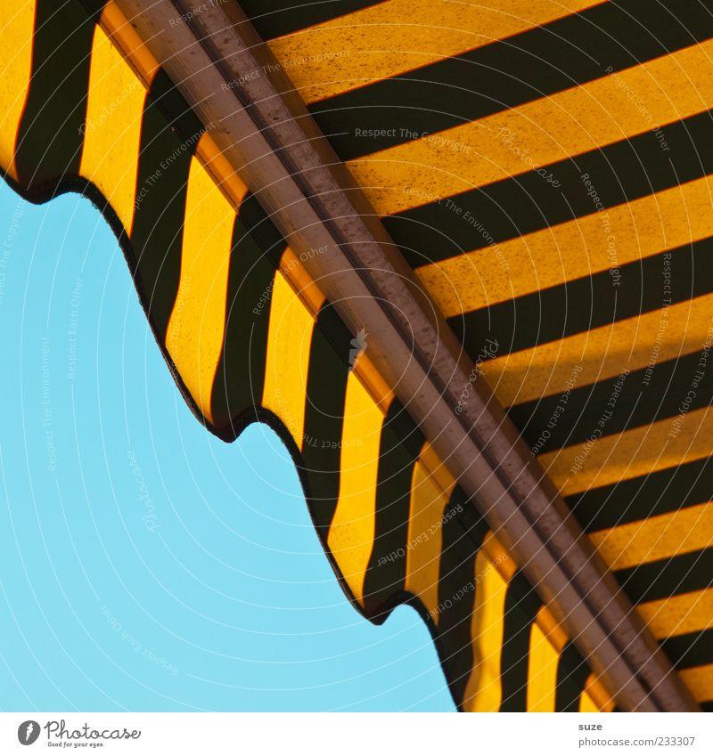 Streifzug Himmel blau Sommer gelb Umwelt Linie Design leuchten Lifestyle Streifen Stoff Grafik u. Illustration Freundlichkeit Wolkenloser Himmel graphisch