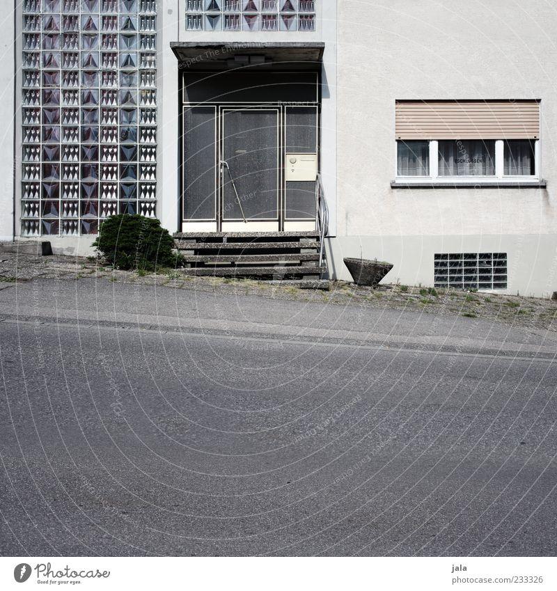 eingang Pflanze Haus Bauwerk Gebäude Architektur Treppe Fassade Fenster Tür Rollladen Glasbaustein Straße Wege & Pfade Bürgersteig trist grau weiß Farbfoto