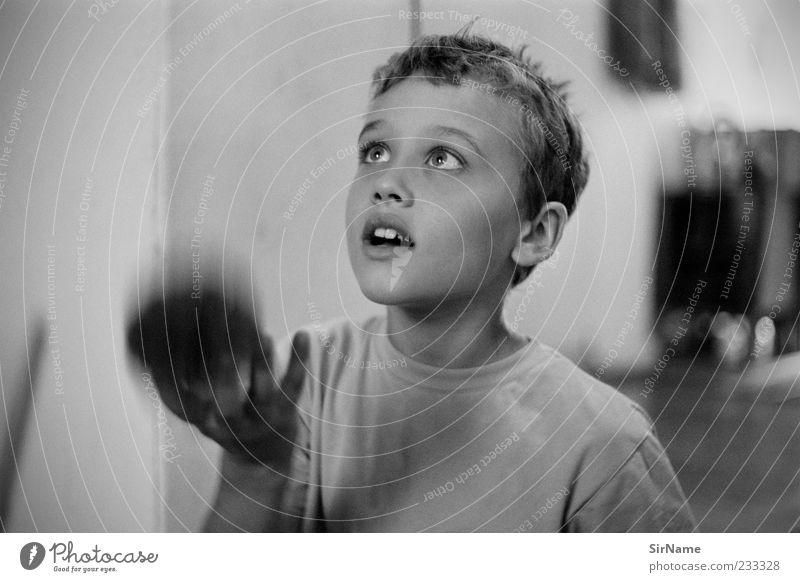 161 [Jongleur] Mensch Kind schön Freude Spielen Junge Kindheit Zufriedenheit frei Geschwindigkeit Ziel Neugier Ball Konzentration fangen Kontrolle