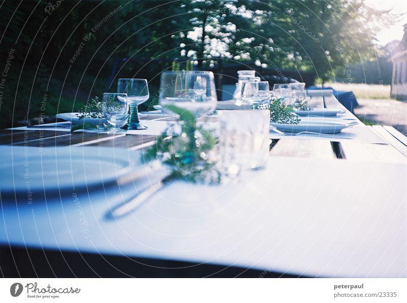 Tafelfreuden Tisch Weinglas Gedeck Sommerabend Waldrand Gegenlicht Ernährung Außenaufnahme