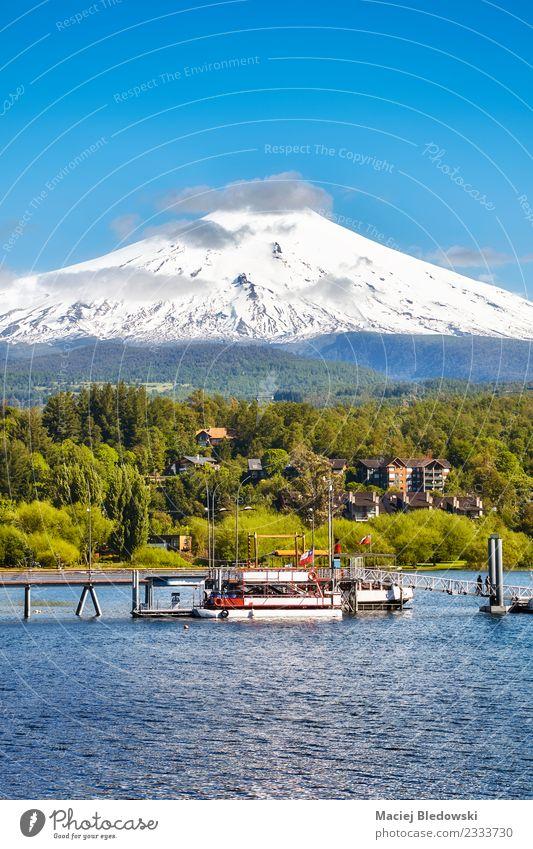 Vulkan Villarrica von Pucon, Chile aus gesehen. schön Ferien & Urlaub & Reisen Tourismus Ausflug Abenteuer Expedition Schnee Berge u. Gebirge Natur Landschaft