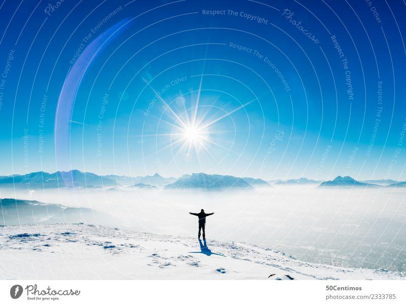 Feeling Free Mensch Himmel Ferien & Urlaub & Reisen Landschaft Erholung ruhig Winter Ferne Berge u. Gebirge Schnee Zeit Glück Tourismus Freiheit Ausflug