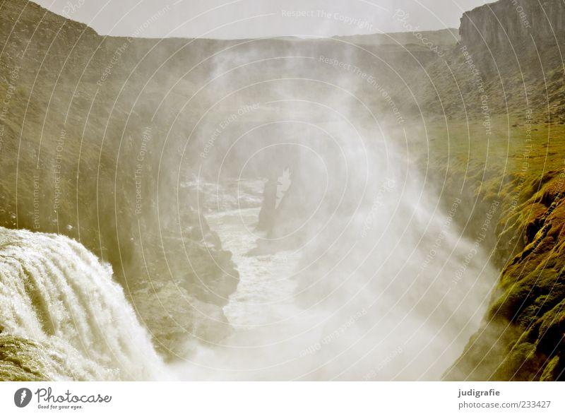 Island Umwelt Natur Landschaft Urelemente Wasser Nebel Felsen Berge u. Gebirge Schlucht Wasserfall Gullfoss kalt nass natürlich wild Stimmung Kraft Tourismus