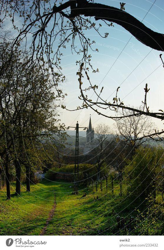 Land des Lichts Natur blau grün Baum Pflanze Ferne Umwelt Wiese Landschaft Gras Frühling Energiewirtschaft Klima Kirche leuchten Idylle
