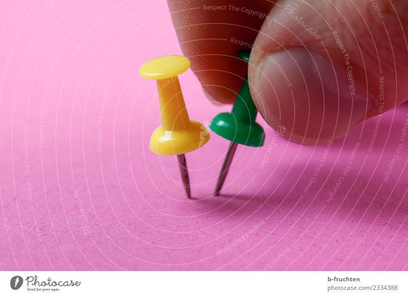 Pinwandnadeln fixieren Büroarbeit Finger Arbeit & Erwerbstätigkeit festhalten rosa Konflikt & Streit Pinnwandnadeln paarweise 2 Spitze stechen Stecknadel
