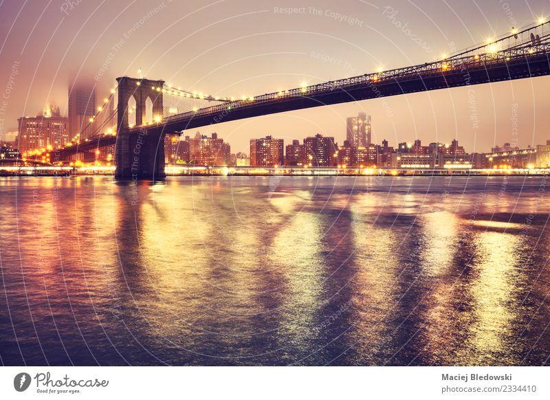Stadt Architektur Gebäude Stimmung Nebel Hochhaus Aussicht USA Brücke Fluss Sehenswürdigkeit Skyline Wahrzeichen Stadtzentrum Hafenstadt Manhattan