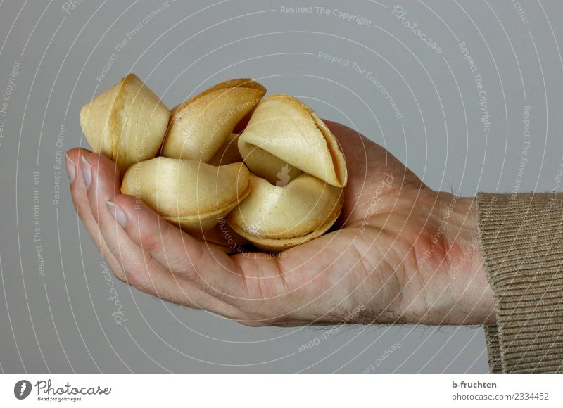 Eine Handvoll Glück II Süßwaren Finger festhalten genießen Glaube Religion & Glaube Glückskeks Mann Studioaufnahme Nahaufnahme Blick nach vorn