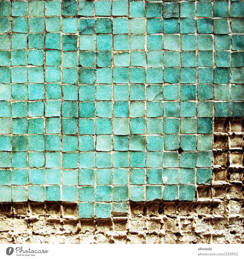 Ausgefressen grün Wand Architektur Mauer Fassade kaputt Bauwerk Fliesen u. Kacheln Quadrat türkis Fuge Muster Rechteck Mosaik Licht abstrakt
