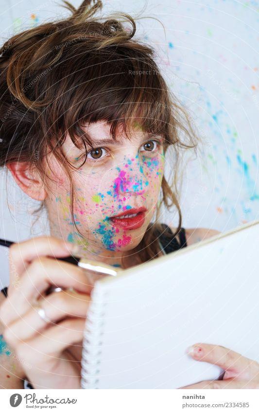 Mensch Jugendliche Junge Frau schön 18-30 Jahre Erwachsene Leben Lifestyle feminin Stil Kunst Freizeit & Hobby dreckig frisch Kultur Kreativität