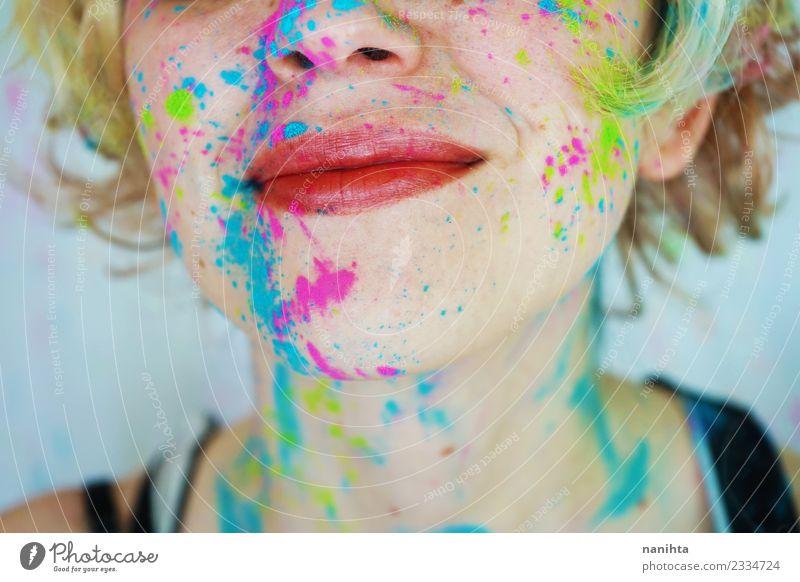 Mensch Jugendliche Junge Frau schön Freude 18-30 Jahre Gesicht Erwachsene lustig feminin Stil Kunst Design Freizeit & Hobby blond frisch