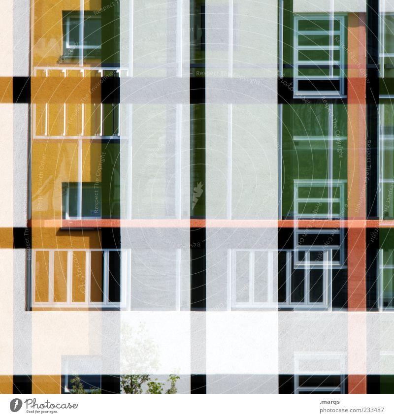 Front Stil Haus Gebäude Architektur Fassade Fenster Linie Streifen Häusliches Leben außergewöhnlich trendy einzigartig modern gelb grün rot schwarz silber Farbe