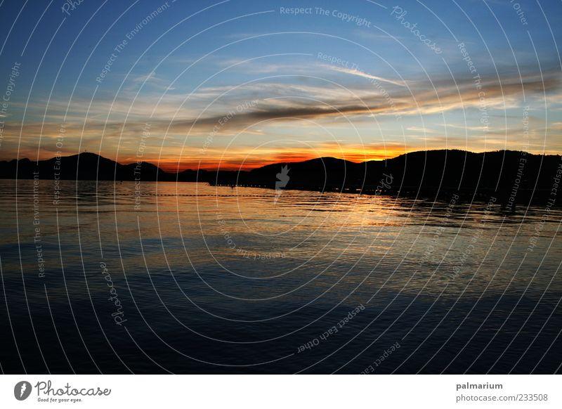 Jetzt schnell Heim... Natur Wasser Himmel blau rot Sommer Ferien & Urlaub & Reisen ruhig schwarz Wolken See Landschaft Stimmung frei Horizont ästhetisch