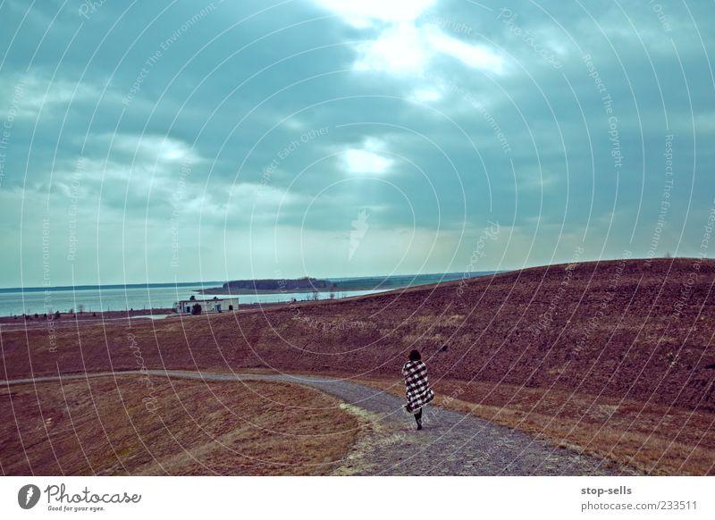 Den Weg heute bis zu Ende gehen Himmel Natur Wasser Pflanze Wolken Ferne Umwelt Wiese Landschaft Wege & Pfade Küste Traurigkeit Luft Erde Wetter