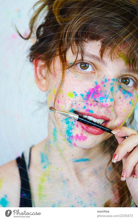 Mensch Jugendliche Junge Frau schön 18-30 Jahre Gesicht Erwachsene lustig feminin Stil Kunst Freizeit & Hobby frei blond frisch Kultur