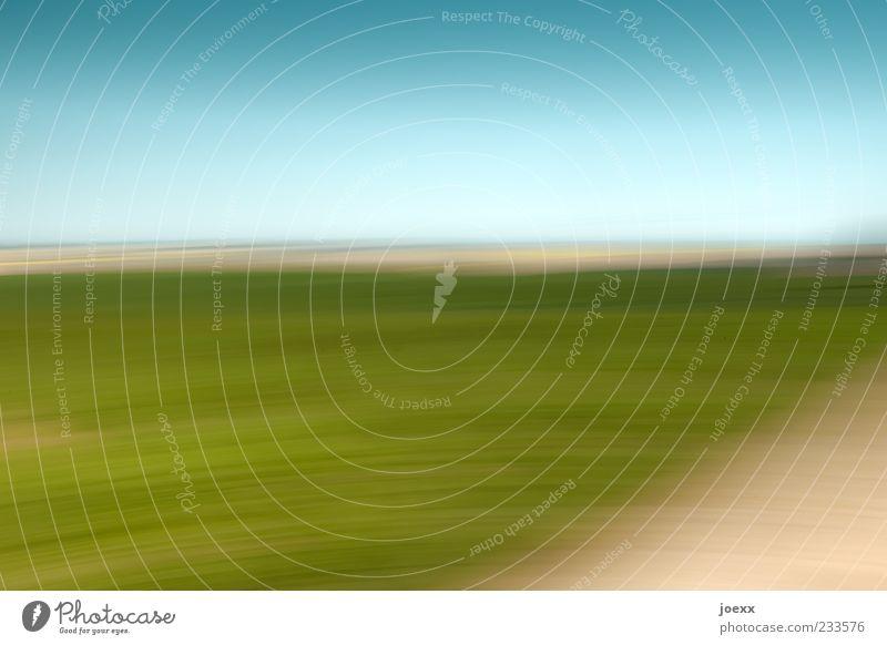 Verwirrung blau grün Ferne Landschaft Bewegung träumen hell Kunst Horizont Hintergrundbild Feld Angst Schönes Wetter chaotisch bizarr