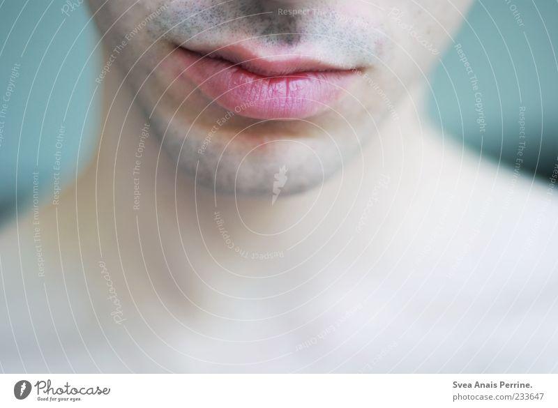 sweet kiss. Mensch Jugendliche schön Erwachsene Zufriedenheit elegant Mund modern 18-30 Jahre einzigartig weich Lippen Hals bescheiden Bartstoppel Gesichtsausschnitt