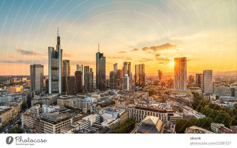 Frankfurter Sommerabend II Büro Business Frankfurt am Main Stadtzentrum Skyline Hochhaus Ferien & Urlaub & Reisen Großstadt Cityscape River Architecture