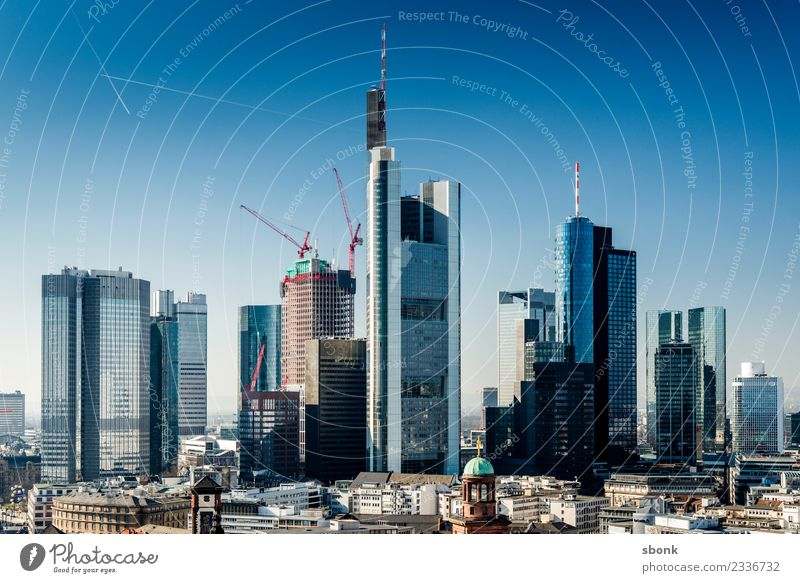 Frankfurt Skyscrapers Büro Business Frankfurt am Main Stadt Stadtzentrum Skyline Hochhaus Bankgebäude Bauwerk Gebäude Architektur Gesellschaft (Soziologie)