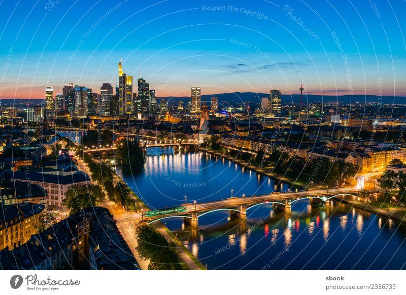 Frankturter Sommerabend Büro Business Frankfurt am Main Stadt Stadtzentrum Skyline Hochhaus Architektur Ferien & Urlaub & Reisen Großstadt Cityscape River