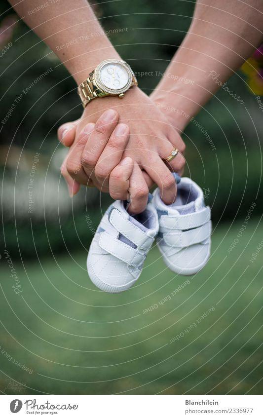 Familie Mensch Jugendliche grün Hand 18-30 Jahre Erwachsene Liebe Gefühle feminin Familie & Verwandtschaft Zusammensein maskulin gold Beginn Zukunft Baby