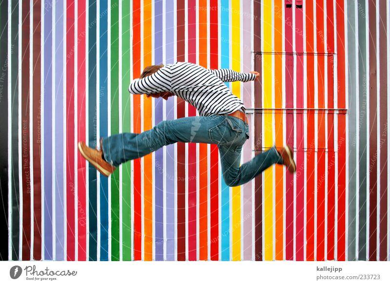 pantone Mensch Mann Erwachsene Leben springen Stil Kunst fliegen maskulin Erfolg Druckerzeugnisse Lifestyle Streifen Bewegungsunschärfe Kultur Jeanshose