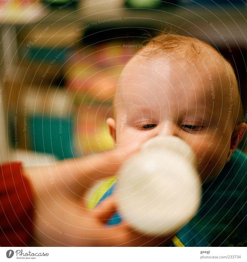 orale Phase Mensch Baby Hand 1 0-12 Monate brünett Babyfläschchen Flasche Essen füttern niedlich Appetit & Hunger Durst Kindheit trinken fixieren Schielen