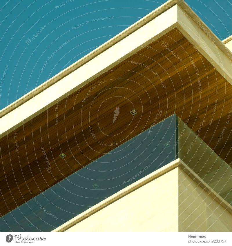 Schönes Eckchen! Design Gebäude Mauer Wand Fassade Balkon Terrasse Dach Stein Beton Holz Glas ästhetisch modern blau braun Stil Ecke Strukturen & Formen flach