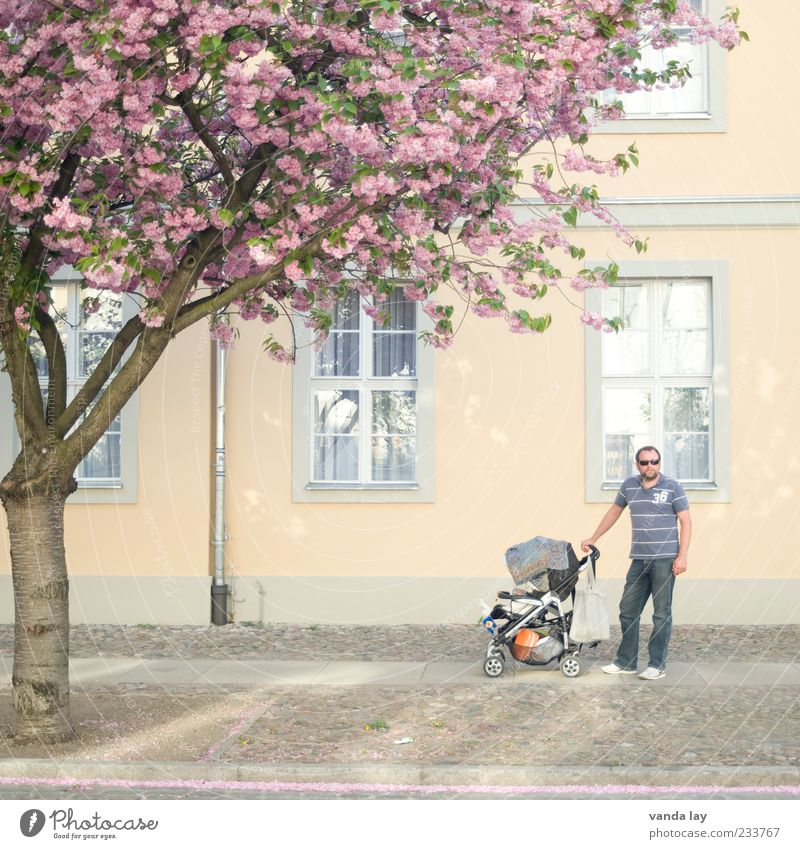 Moderne Väter Mensch Mann Baum Haus Erwachsene Leben Glück Blüte Familie & Verwandtschaft Zusammensein maskulin modern stehen Spaziergang Vater Eltern