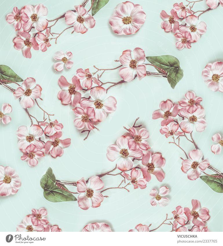 Pastell rosa Blumen Muster Stil Design Blatt Blüte Dekoration & Verzierung Blumenstrauß Ornament Pastellton türkis hell Entwurf Farbfoto Innenaufnahme