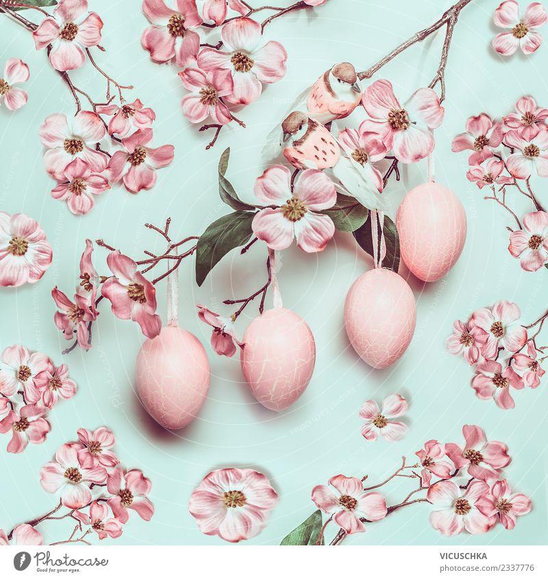Hängende Ostereier mit rosa Blüten Natur Pflanze Blatt gelb Hintergrundbild Frühling Stil Design Dekoration & Verzierung Ostern Symbole & Metaphern Blumenstrauß