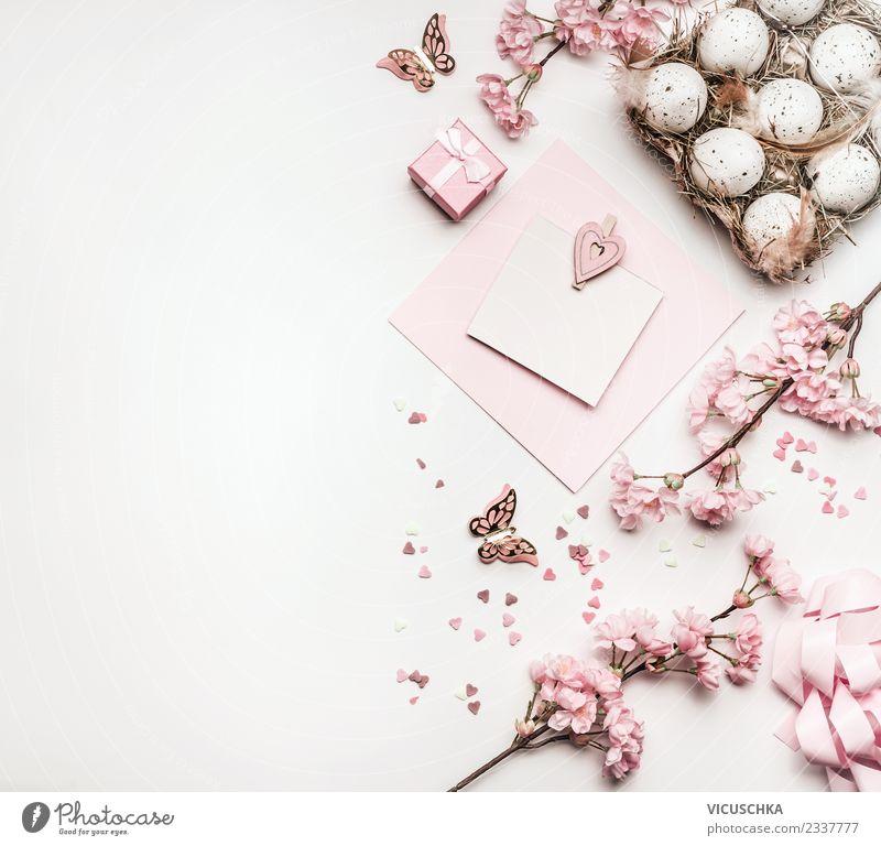 Easter Hintergrund mit Eier, Dekoration und Grußkarte Natur Pflanze weiß Freude Hintergrundbild Stil Feste & Feiern rosa Design Freizeit & Hobby