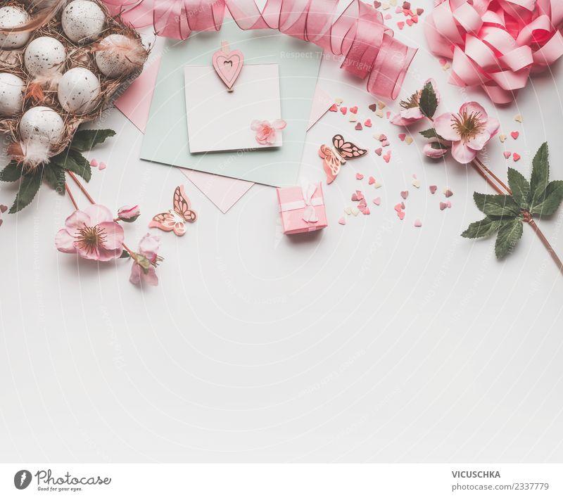 Ostern Hintergrund mit Pastell rosa Dekoration Stil Design Feste & Feiern Frühling Dekoration & Verzierung Blumenstrauß Zeichen springen trendy weiß Tradition