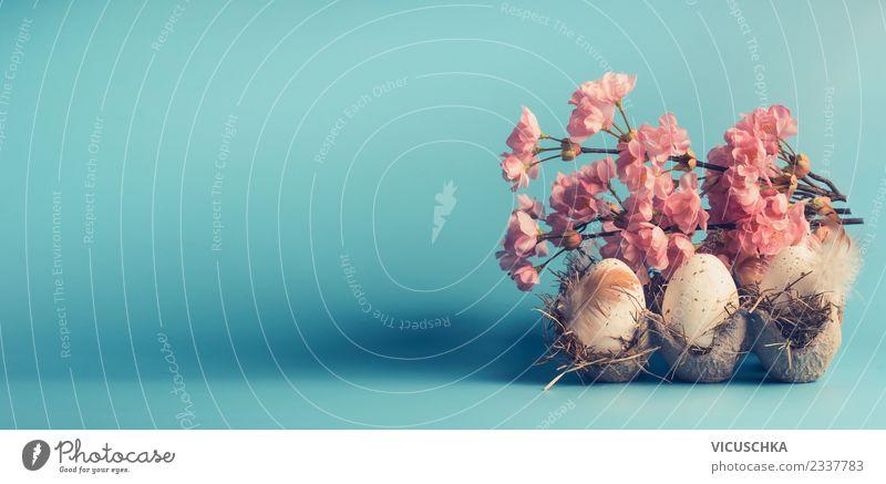 Eier mit Frühlingsblüten Design Dekoration & Verzierung Feste & Feiern Ostern Blatt Blüte Fahne retro schön rosa Stil Tradition Hintergrundbild Osterei Tisch