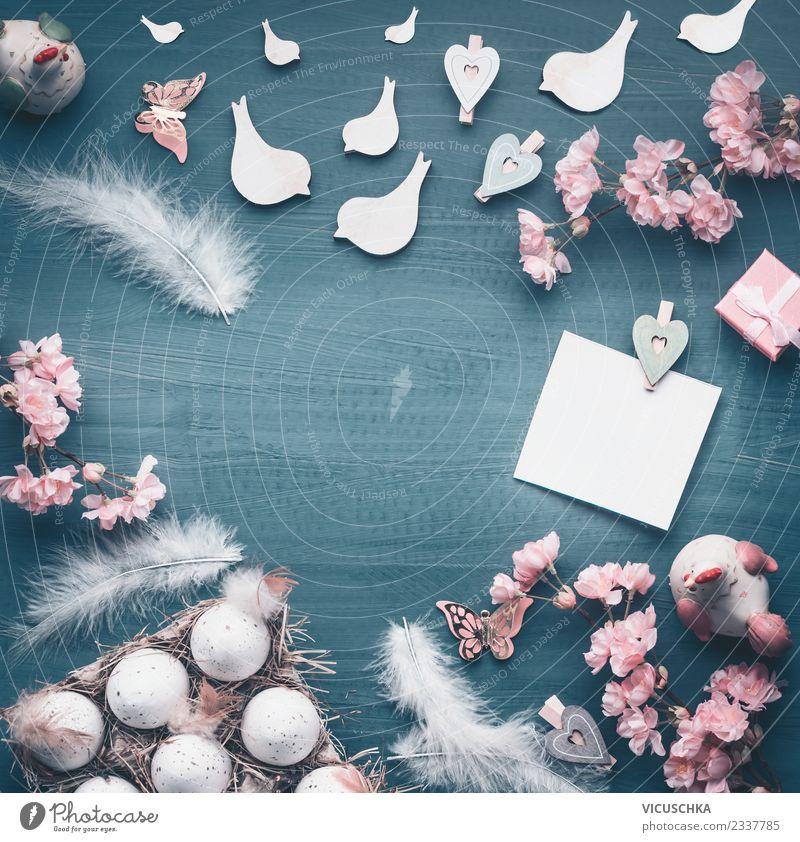 Ostern Hintergund mit Eier und Dekoration Stil Design Dekoration & Verzierung Blumenstrauß Ornament Freude Tradition Hintergrundbild Symbole & Metaphern Osterei
