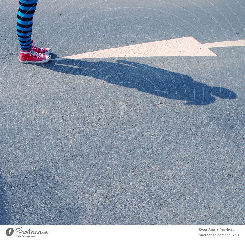 gestreift. Junge Frau Jugendliche Beine Fuß 1 Mensch 18-30 Jahre Erwachsene Straße Asphalt Pfeil Verkehr Mode Leggings Strumpfhose Schuhe Chucks stehen trendy