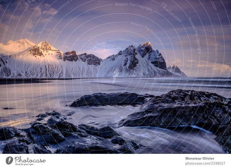 Vestrahorn, Island Landschaft Berge u. Gebirge Gipfel Schneebedeckte Gipfel Küste blau vestrahorn Europa Reisefotografie Ferien & Urlaub & Reisen Abenteuer