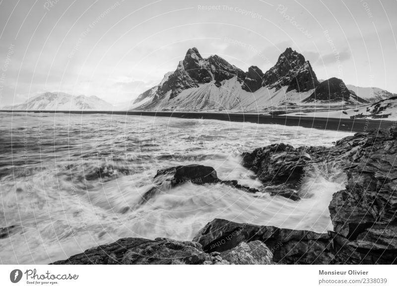 Island im Winter Landschaft Felsen Gipfel Schneebedeckte Gipfel Wellen Küste Abenteuer Natur Berge u. Gebirge Wasser Kraft Schwarzweißfoto Außenaufnahme