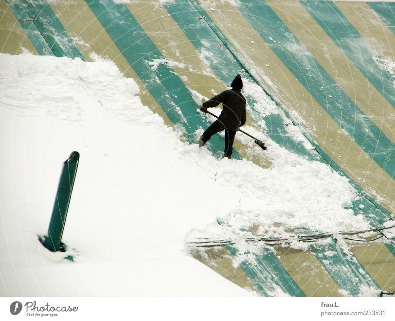 Schnee-Dom Mensch Winter Schnee Arbeit & Erwerbstätigkeit Kraft maskulin Dach Reinigen Mütze Verantwortung Leistung Besen Tatkraft Schutz Beruf Tapferkeit