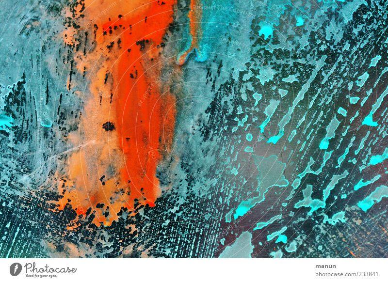 wet I Lifestyle Design Dekoration & Verzierung Gemälde Ornament Graffiti Linie Streifen Tropfen modern blau rot Farbe Kreativität Strukturen & Formen abstrakt