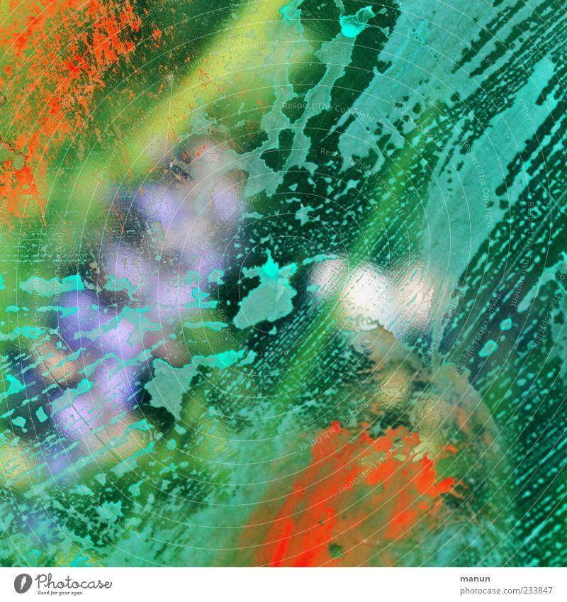 wet II grün Farbe Linie Kunst Hintergrundbild Design modern Streifen Tropfen Kreativität trendy Textfreiraum Farbfleck