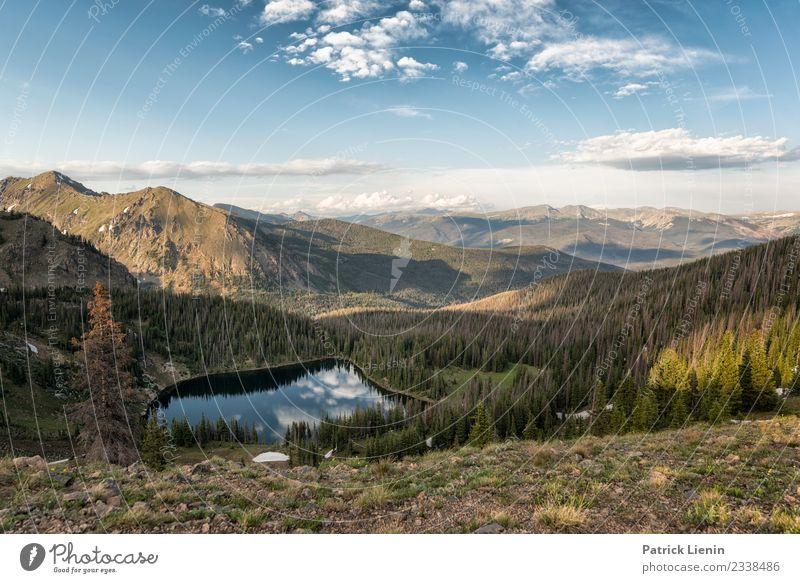 Bowen lake Ferien & Urlaub & Reisen Camping Sommer Umwelt Natur Landschaft Sonne Klima Klimawandel Wetter Schönes Wetter Wald Berge u. Gebirge Gipfel springen
