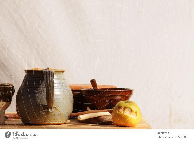 Mittagstisch Ernährung Wand Lebensmittel Frucht authentisch Apfel Geschirr Stillleben Schalen & Schüsseln Becher Besteck Kannen malerisch Tragegriff Krug